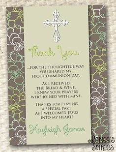 FIRST COMMUNION or CONFIRMATION Thank You card