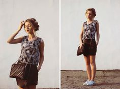 Shop this look on Lookastic:  http://lookastic.com/women/looks/black-mini-skirt-and-black-and-white-sleeveless-top-and-black-crossbody-bag-and-white-derby-shoes/2850  — Black Leather Mini Skirt  — Black and White Print Sleeveless Top  — Black Quilted Leather Crossbody Bag  — White Leather Derby Shoes