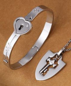 Matching Couple Pendant & Bangle Set, Heartbeat + Knight Shield + Lock and Key @ iDream-Jewelry.Com