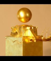Golden sculpture by James Strickland Contemporary Sculpture, 3d Projects, Golden Color, Beautiful Artwork, Sculpture Art, Surrealism, Wall Lights, Objects, Bling Bling