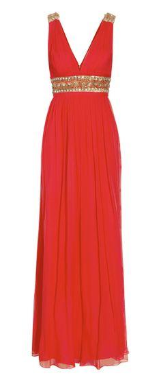 Notte by Marchesa Red Embellished Silkchiffon Gown