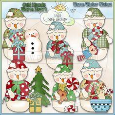 Warm Winter Wishes Snowlady 1 - NE Cheryl Seslar Clip Art