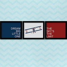 Airplane Nursery Print Dream Big Little One by DesignedByJacklyn