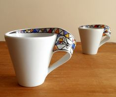 Mugs Cups Set of 2 Hand Painted Modern Geometric Triangles Star Coffee Milk