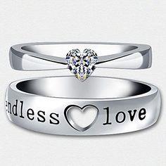 (2 pcs)Fashion Unisex Transparent Rhinestone Couple Rings – USD $ 5.39