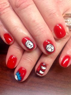 Dr. Seuss inspired nails. The cat in the hat! | Nails | Pinterest ...
