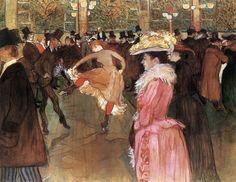 Obra: Baile no Moulin Rouge; Autor: Lautrec; Data:1890; Técnica e Dimensões:  Óleo em lona, 115cm x 150cm. Localização: Museu Nacional de Artes da  Filadélfia