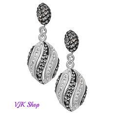 Sterling Silver Fancy Black&White Earrings
