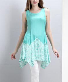 Loving this Aqua & White Lace-Print Sleeveless Sidetail Tunic on #zulily! #zulilyfinds