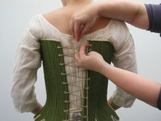 Lacing 18th century stays More 18th Century Clothing, 18th Century Fashion, Medieval Dress, Medieval Clothing, Historical Costume, Historical Clothing, 18th Century Stays, Rococo Dress, 18th Century Costume