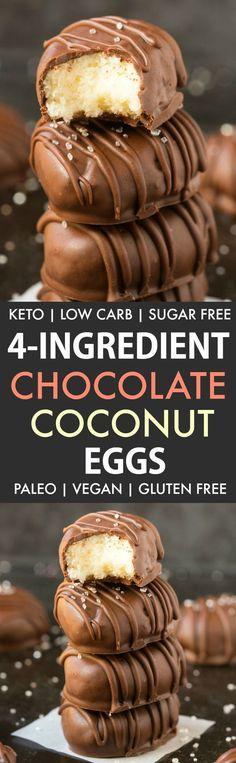 Healthy Paleo Vegan Chocolate Coconut Eggs (Keto, Sugar Free)