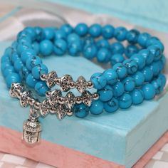 New fashion 6mm blue veins turquoise multilayer round beads bracelets original desigh high grade pretty party gift jewelry B2254