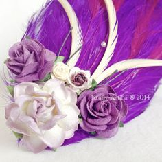 Flower and Feather Fascinator Hair Accessory Purple & Ivory with Vintage  | Wedding / Prom / Easter / Bride / Spring / Bridesmaid on Etsy, $30.00
