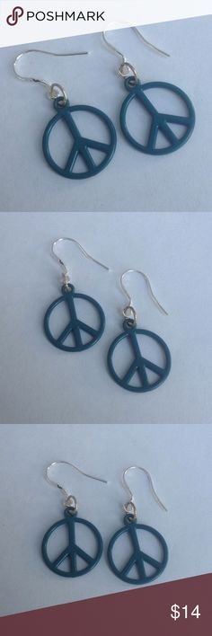 Dark Teal Peace Sign Earrings Dark teal peace sign earrings with sterling silver ear wires. Check out my other items for a bundle discount. PRICE FIRM UNLESS BUNDLED!!! Cindylou's Design Jewelry Earrings