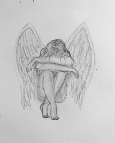 Sad Angel drawing with pencil...