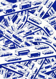 """kevinlucbert: """" The interchange 21 x ink on paper, Kevin Lucbert, 2016 """" Mises En Page Design Graphique, Illustration Design Graphique, Flat Illustration, Arte Popular, Art Inspo, Illustrators, Print Patterns, Graphic Art, Prints"""