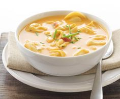 Cream cheese and tomato soup make a rich and creamy base for this four-ingredient tortellini soup recipe that can be prepared in just 15 minutes.