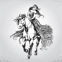 woman on horseback drawing