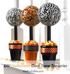 Halloween Duct Tape Topiaries www.tablescapesbydesign.com https://www.facebook.com/pages/Tablescapes-By-Design/129811416695