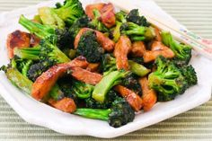 Pork and Broccoli Stir-Fry Recipe with Ginger and Hoisin Sauce; this recipe also has some tips for Chinese cooking!  [from Kalyn's Kitchen] #GlutenFree #LowCarb