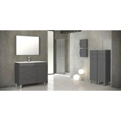 Featuring a contemporary design, this 39-inch bathroom vanity is constructed with Eco-friendly engineered wood for a durable build and is finished with a beautiful grey. The vanity includes an integrated white ceramic sink and mirror to match the vanity.