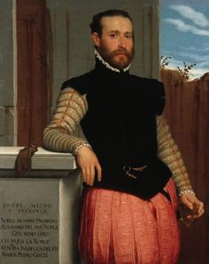 Portrait of Prospero Alessandri. Giovanni Battista Moroni.1580. Prospero Alessandri is dressed in a severe black jerkin with shorted bases over a light grey doublet with rows of parallel cuts between bands of gold braid. His rose-coloured pansied slops are decorated with cuts and thin applied gold trim. - - ( I think his face looks quite modern.)