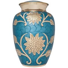Funeral Urn by Liliane  Cremation Urn for Human Ashes  Hand Made in Brass and Hand Engraved  Fits the Cremated Remains of Adults as Well as the ashes of dogs cats or other pets  Display Burial Urn at Home or in Niche at Columbarium  Lisette Blue Model Blue Enamel with Golden Flowers LargeAdult * Check this awesome product by going to the link at the image.