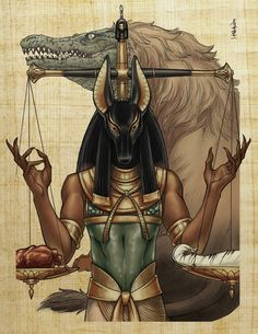 "Anubis (""Guardian of the Scales"")  performing a measurement that determined whether the person was worthy of entering the realm of the dead (the underworld, known as Duat). By weighing the heart of a deceased person against Ma'at (or ""truth""), often represented as an ostrich feather, Anubis dictated the fate of souls. Souls heavier than a feather would be devoured by Ammit, and souls lighter than a feather would ascend to a heavenly existence."