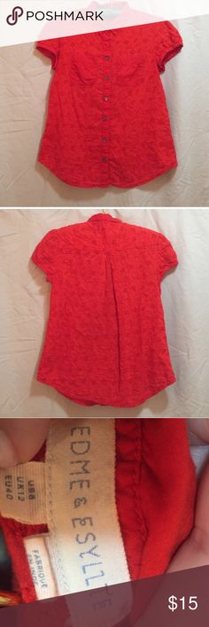Red Eyelet Top From Anthropology-short sleeve, cotton and cute! Anthropologie Tops Blouses