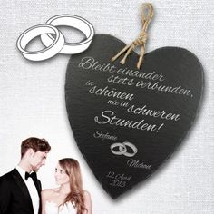 Schieferherz zur Hochzeit personalisiert, eine wundervolle romantische Geschenkidee #Hochzeit #Geschenk #Hochzeitsgeschenk