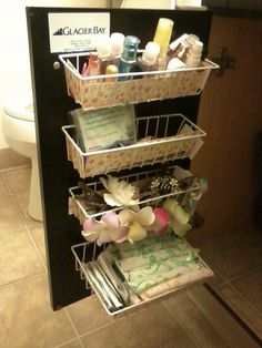 Add more cabinet storage: Baskets from Dollar Tree - can attach with dollar tree  hooks.