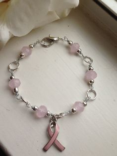 Handcrafted Opaque Baby Pink Beaded Breast Cancer Bracelet by goldenhandscreations, $14.00