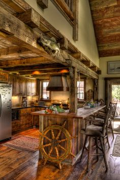 Kitchens rustic cabin: gorgeous rustic log cabin kitchen from off grid world, cabin kitchens kitchen rustic with rough hewn wood log, rustic cabin galley kitchen rustic kitchen Cabin Interiors, Rustic Interiors, Log Cabin Homes, Log Cabins, Rustic Cabins, Mountain Cabins, Small Cabins, Small Houses, My Dream Home