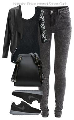 """""""The Vampire Diaries - Katherine Pierce Inspired School Outfit"""" by staystronng ❤… Teenage Outfits, Outfits For Teens, Fall Outfits, Casual Outfits, Cute Outfits, Fashion Outfits, Womens Fashion, Katherine Pierce Outfits, Mode Rockabilly"""