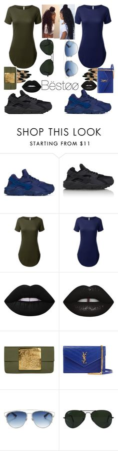 """Goals Asf"" by slim-thick-kaye ❤ liked on Polyvore featuring NIKE, Lime Crime, Dareen Hakim, Yves Saint Laurent, Christian Dior and Ray-Ban"