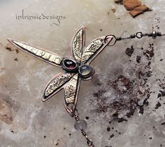 Dragonfly Pendant Necklace with Tourmaline by IntrinsicDesignsArt