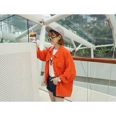 #Orange #Oversized #DenimJacket #AW15 £27.99 @ ShanghaiTrends.co.uk  /  http://shanghaitrends.co.uk/orange-oversized-denim-jacket