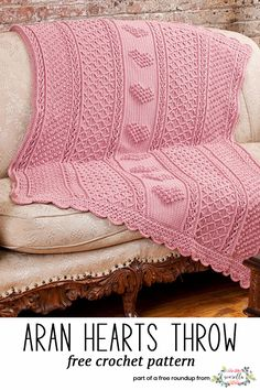 Crochet this easy beginner Aran Hearts baby blanket from Red Heart Yarn from my best free crochet baby blankets for girls roundup!