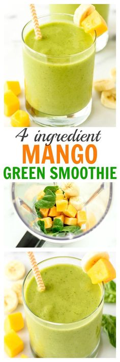 4 Ingredient Mango Green Smoothie - Tastes like a tropical vacation! Sweet, creamy, healthy and even kids love it. {vegan, gluten free, and a great smoothie for weightloss too!} Healthy Smoothies to Try Smoothie Legume, Smoothies Vegan, Green Smoothie Recipes, Breakfast Smoothies, Smoothie Drinks, Fruit Smoothies, Homemade Smoothies, Vegetable Smoothies, Diet Drinks