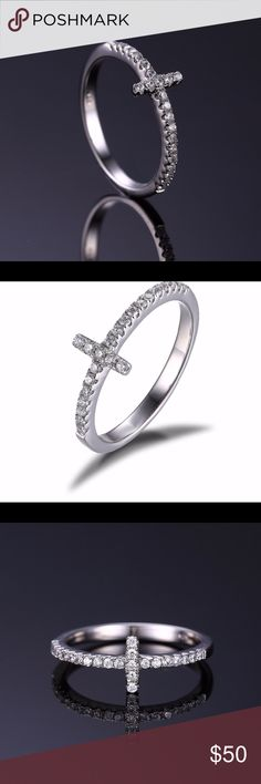 """0.1ct Cubic Zirconia/ .925 Silver Cross Ring """"NEW Never WORN"""".   .925 Sterling Silver Cross Ring.       """"Resizable"""" Jewelry Rings"""