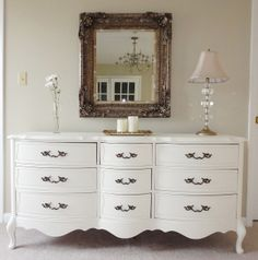 How To Paint Furniture: The French Dresser Makeover. Great tutorial on how to totally transform thrift store furniture..