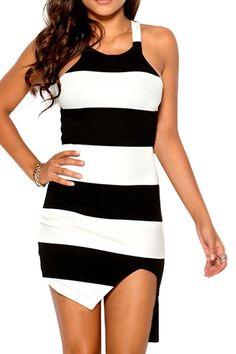 Black White Stripe Asymmetrical Dress