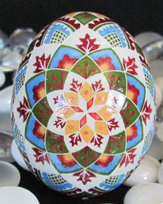 Duck Egg Pysanky by ukraine Artist, Katrina Lazarev,   I love her designs, her use of colors, well, just everything about her Pysanky eggs!