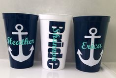Nautical Bachelorette Cups set of 6 by delilahs82 on Etsy, $24.00