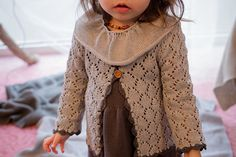 Baby Toddler Girl Knit Cardigan Lace jacket in gray by MarumaKids