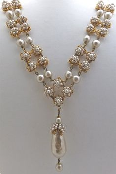 Miriam Haskell Gilt & Pearl Necklace and Bracelet