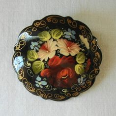 russian folk art hand made by 2 different artist and signed lacquered wooden brooches zhostovo decorative style intricate colorful floral design