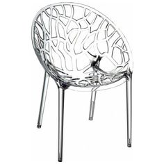 Clear plastic chair, modern with branch cut-outs. Would work in the dining room or on the patio.