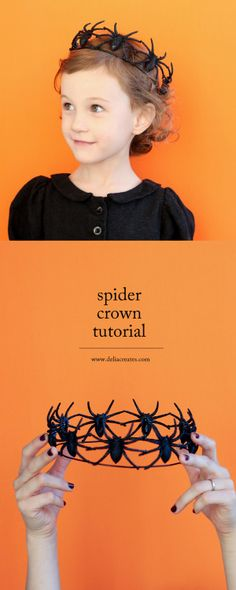 DIY Spider Crown Tutorial from Delia Creates.Make this cheap and simple DIY Spider Crown to go with your no sew DIY Spider Cape.For the DIY Spider Crown you only need floral wire and giant plastic spiders.