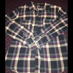 Sandra Ingrish (Nordstrom) Plaid Small Button Down Purple blue plaid great light weight top. Sandra Ingrish Tops Button Down Shirts
